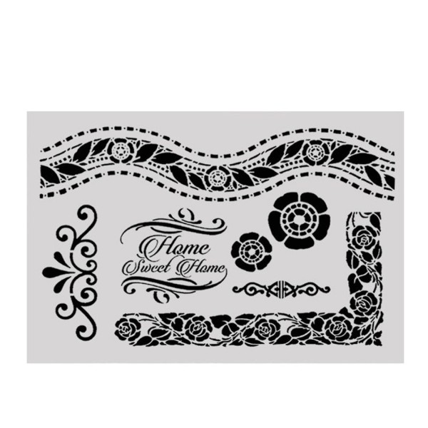 POCHOIR PLASTIQUE 30*21cm : frises, cadres et motifs fleuris - Photo n°1