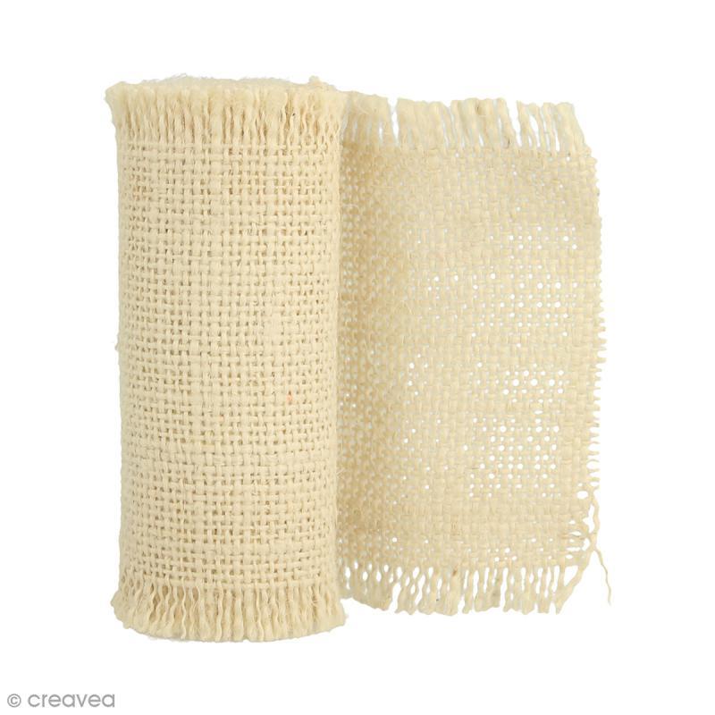 Ruban de tissu en toile de lin - Crème - 1 m - 4 pcs - Photo n°1