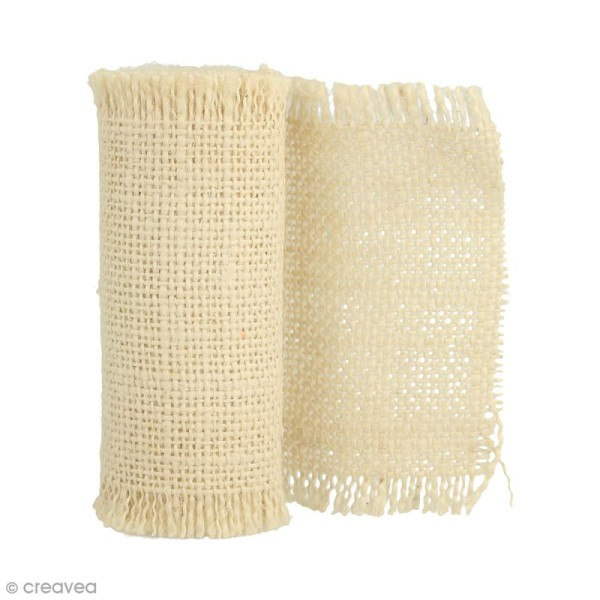Ruban de tissu en toile de lin - Crème - 10 cm x 1 m - Photo n°1
