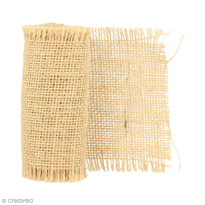 ruban de tissu en toile de jute naturel 10 cm x 1 m bande de jute creavea. Black Bedroom Furniture Sets. Home Design Ideas