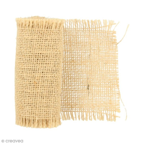 Ruban de tissu en toile de jute - Naturel - 10 cm x 1 m - Photo n°1