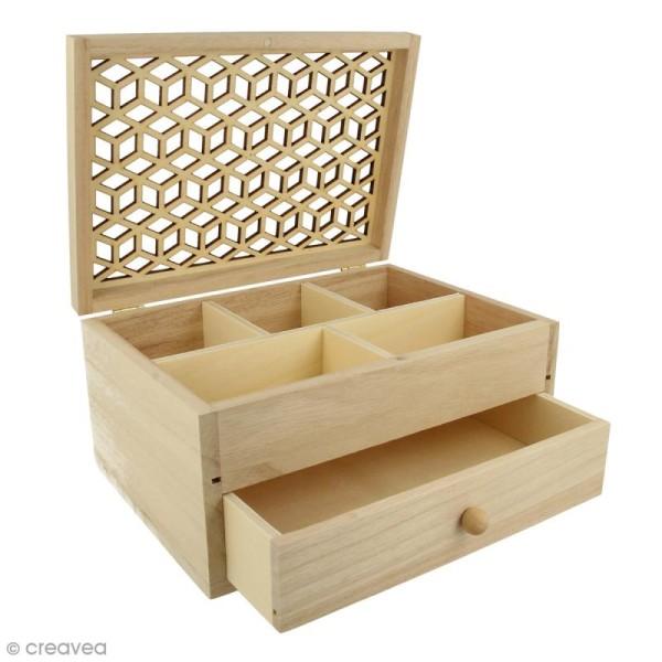 Boîte à bijoux en bois - Motif ajouré - 19,8 x 15 cm - Photo n°1