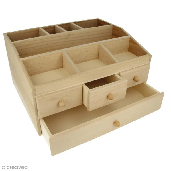 Grande boîte à bijoux 4 tiroirs en bois à décorer - 34,3 x 26,5 x 18 cm - Photo n°1
