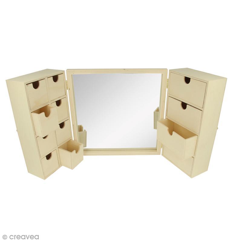 meuble coiffeuse en bois avec miroir 52 x 6 x 26 cm boite bijoux d corer creavea. Black Bedroom Furniture Sets. Home Design Ideas