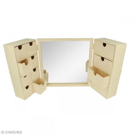 Meuble coiffeuse en bois avec miroir 52 x 6 x 26 cm for Meuble coiffeuse avec miroir