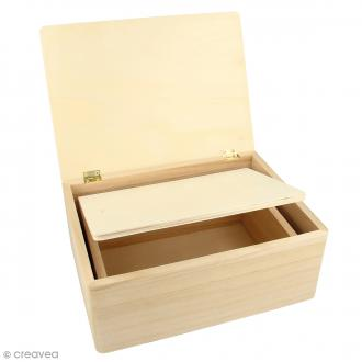 Boîtes gigognes en bois - Rectangulaire - 22 x 16 x 9 cm - Par 2