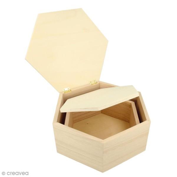 Boîtes gigognes en bois - Hexagonale - 22 x 19 x 9 cm - Par 2 - Photo n°1