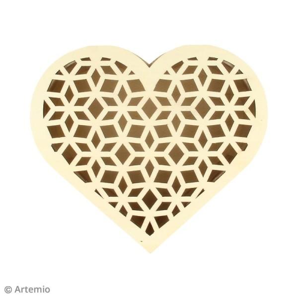 Boîte coeur ajouré en bois - 14,5 x 6,8 cm - Photo n°2