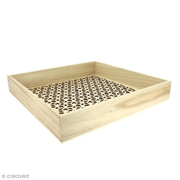 Plateau ajouré en bois à décorer - 30 x 30 cm - Photo n°1