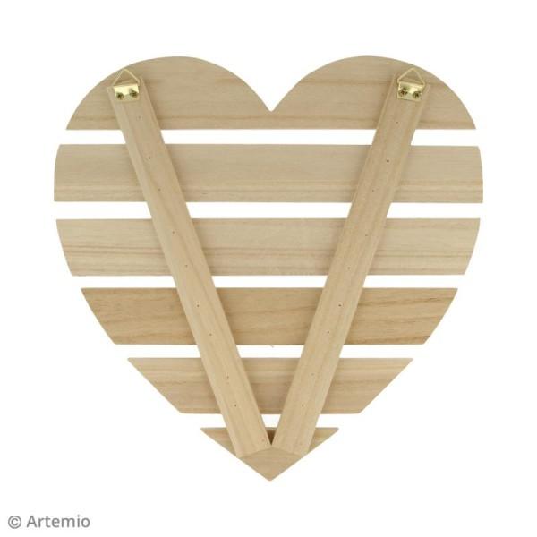 Coeur avec lattes de bois - 30 x 30 x 1,6 cm - Photo n°2