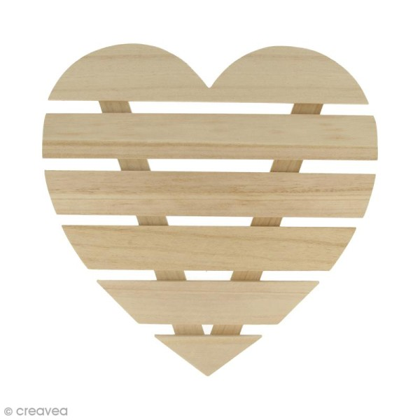 Coeur avec lattes de bois - 30 x 30 x 1,6 cm - Photo n°1