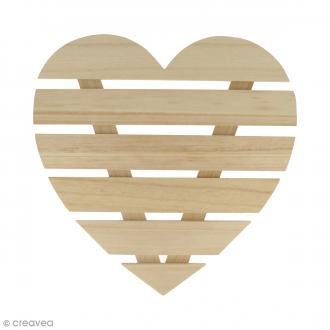 Coeur avec lattes de bois - 30 x 30 x 1,6 cm