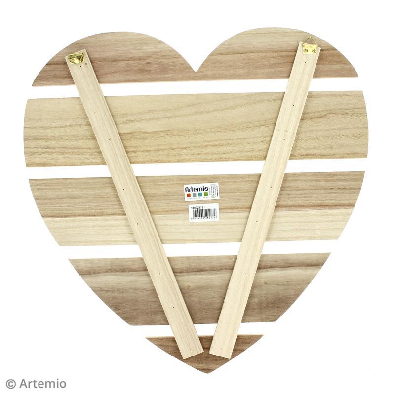 Coeur avec lattes de bois - 40 x 40 x 1,6 cm - Photo n°2