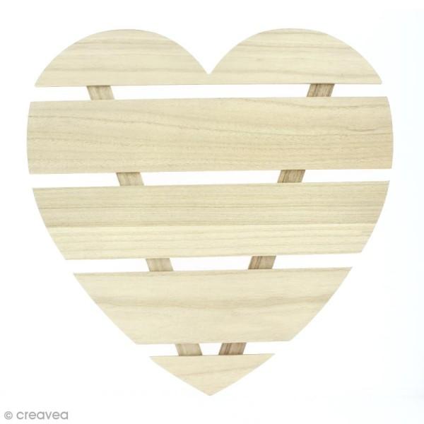 Coeur avec lattes de bois - 40 x 40 x 1,6 cm - Photo n°1