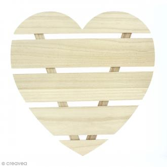 Coeur avec lattes de bois - 40 x 40 x 1,6 cm