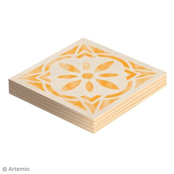 Plaque carrée en bois à décorer - 12,5 x 12,5 x 1,2 cm - 2 pcs - Photo n°2