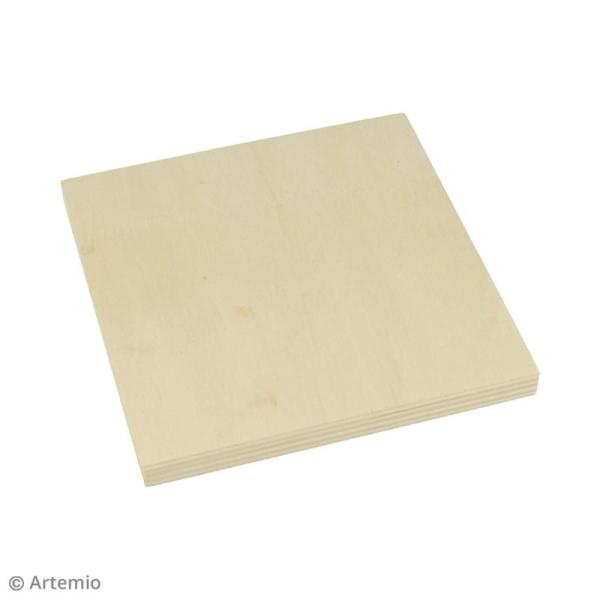 Plaque carrée en bois à décorer - 12,5 x 12,5 x 1,2 cm - 2 pcs - Photo n°3