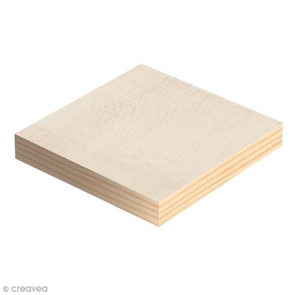 Plaque carrée en bois à décorer - 12,5 x 12,5 x 1,2 cm - 2 pcs - Photo n°1