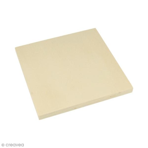 Plaque carrée en bois à décorer - 15 x 15 x 1,2 cm - 2 pcs - Photo n°1