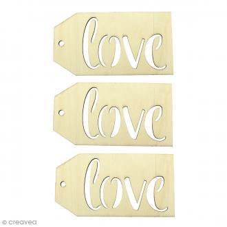 Grandes étiquettes en bois à décorer - Love - 15 x 8 cm - 3 pcs