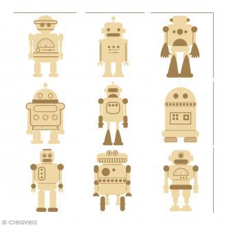 Mini silhouette à décorer en bois - Robots - 27 pcs