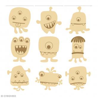 Mini silhouette à décorer en bois - Monstres - 27 pcs