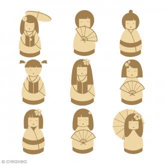 Mini silhouette à décorer en bois - Kokeshi - 27 pcs