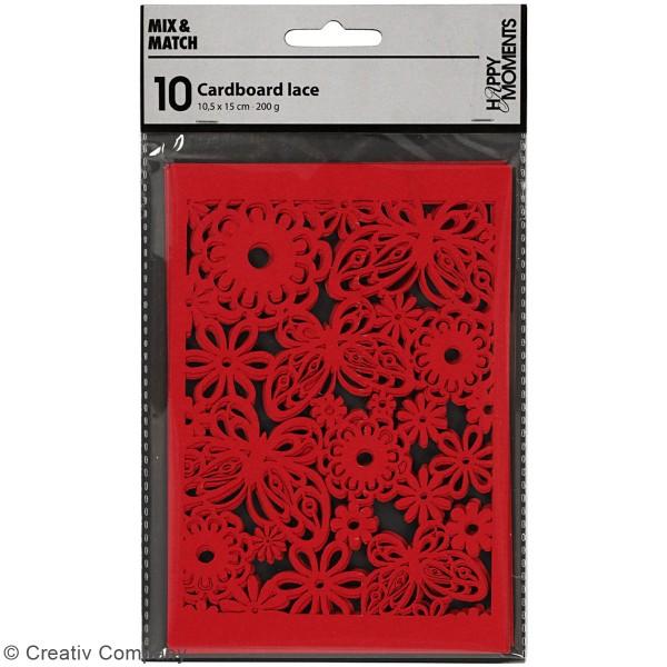 Papier cartonné 200 g avec motif dentelle - 10,5 x 15 cm - Lots de 10 feuilles - Photo n°2