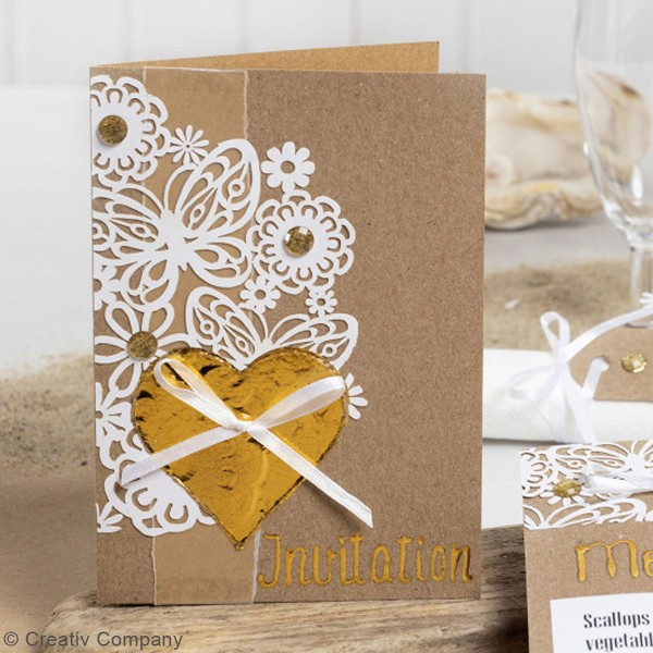Papier cartonné 200 g avec motif dentelle - 10,5 x 15 cm - Lots de 10 feuilles - Photo n°6