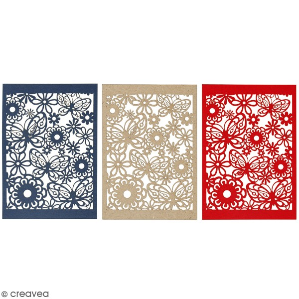 Papier cartonné 200 g avec motif dentelle - 10,5 x 15 cm - Lots de 10 feuilles - Photo n°1