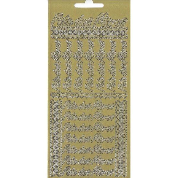 Sticker de contour Fête des Mères et coeurs Doré, Planche 10 x 23 cm, autocollants peel off pour scr - Photo n°1