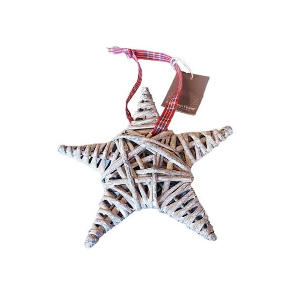 Moyenne Étoile en Rotin gris avec ruban à carreaux, dim. 15 cm, décoration de Noël à suspendre - Photo n°1