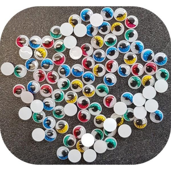 Lot de 50 Yeux ronds, diam. 15 mm, à pupille mobile, 5 couleurs assorties, en plastique, 25 paires a - Photo n°1