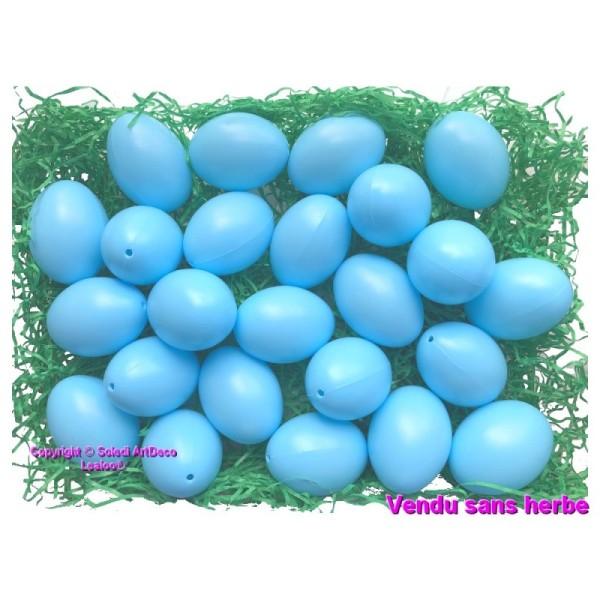 Gros Lot de 25 Oeufs en plastique, Bleu Clair, haut. 6 cm, idéal pour la chasse aux oeufs de pâques, - Photo n°1
