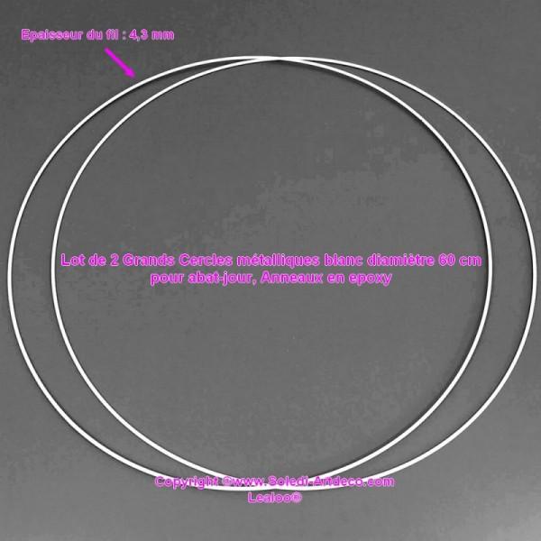 Lot de 2 Grands Cercles métalliques blanc diam. 60 cm pour abat-jour, Anneaux epoxy Attrape rêves - Photo n°1