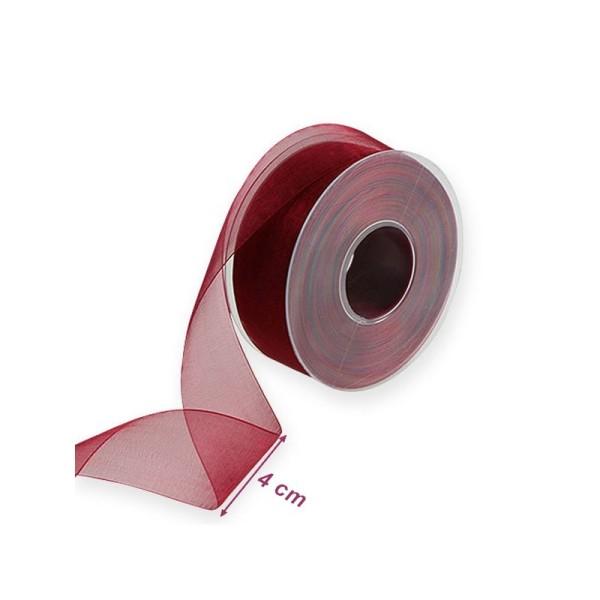 Ruban Organza Bordeaux bords armés, largeur 40 mm, longueur 16 m, rouleau décoratif - Photo n°1