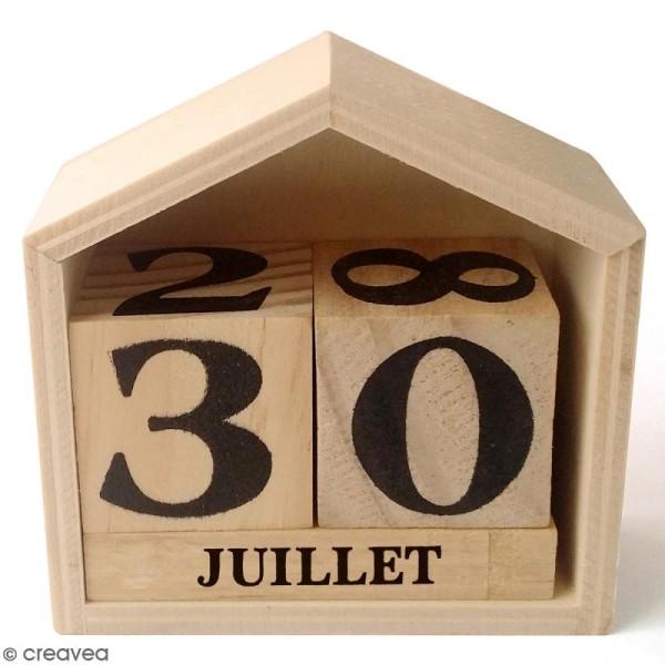 Calendrier perpétuel - Maison en bois - 7,3 x 7,8 cm - Photo n°1