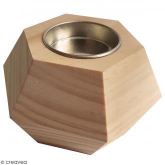 Bougeoir géométrique en bois - 9 x 6 cm