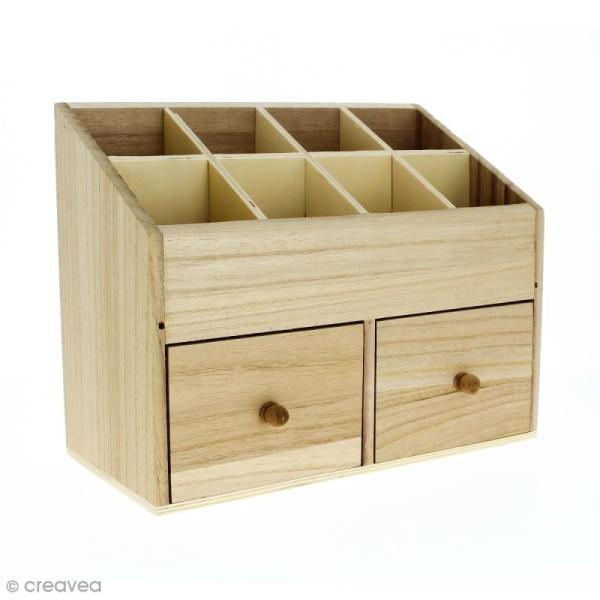 Boîte en bois 24 x 12 cm - 10 rangements - Photo n°1