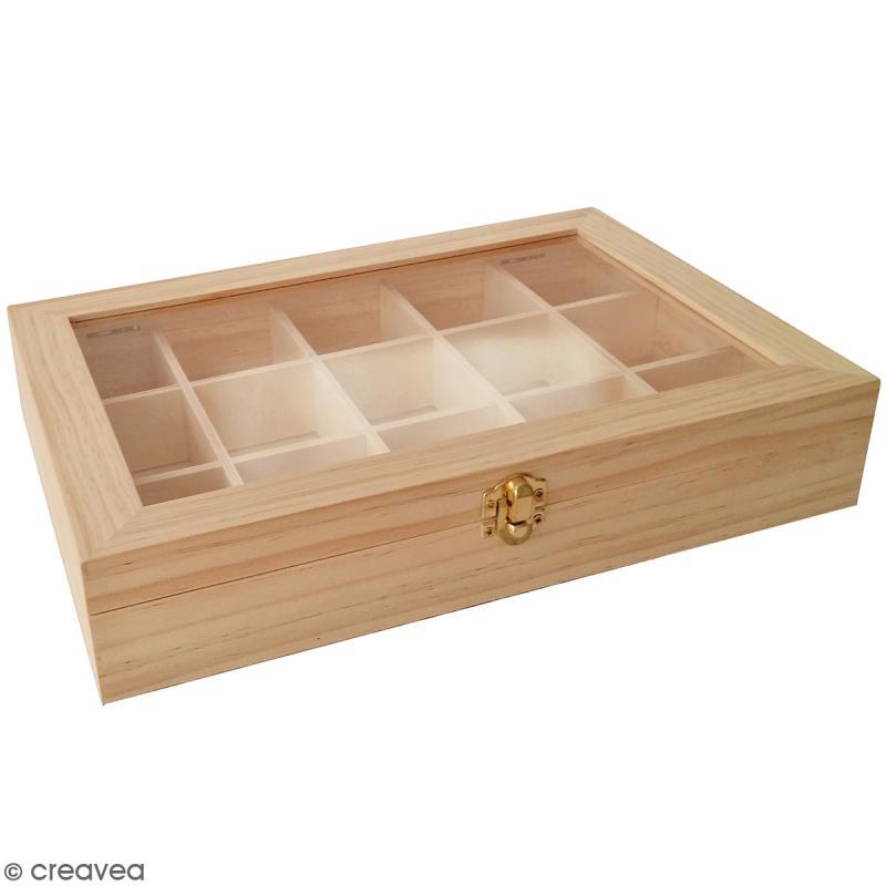 boite de rangement en bois 31 5 x 22 cm 15 compartiments. Black Bedroom Furniture Sets. Home Design Ideas