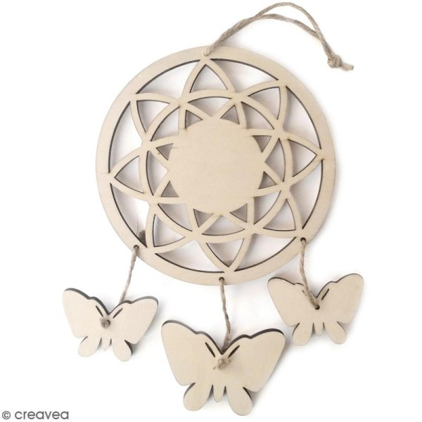 Attrape rêves Papillons en bois à décorer - 12,5 x 21,5 cm - Photo n°1