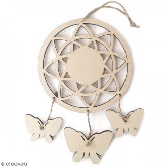 Attrape rêves Papillons en bois à décorer - 12,5 x 21,5 cm