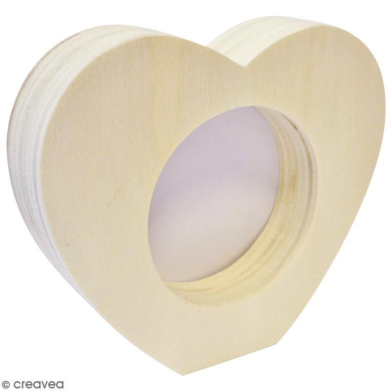 Cadre photo coeur en bois - 9,8 x 8,5 cm - Photo n°1