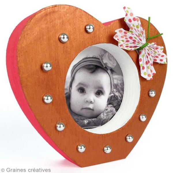 Cadre photo coeur en bois - 9,8 x 8,5 cm - Photo n°2