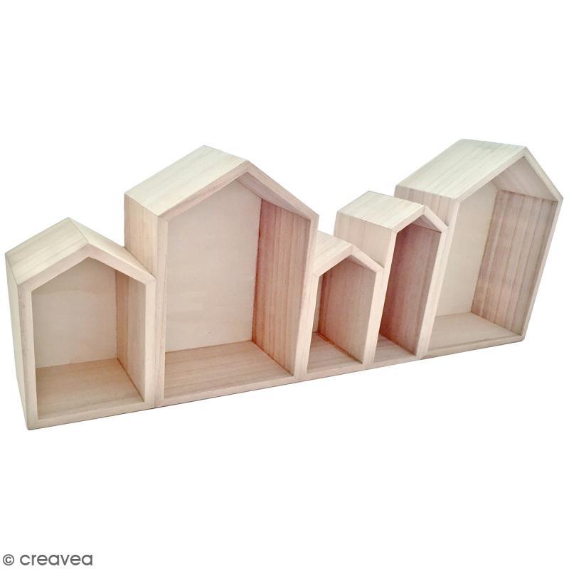 Blocs de maisons en bois à décorer - 50,3 cm - Photo n°1