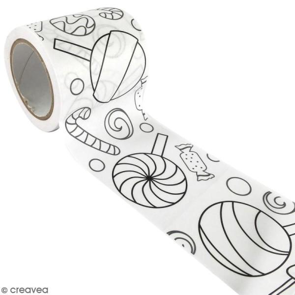 Masking Tape à colorier XL - Sucreries - 4,6 cm x 5 mètres - Photo n°1