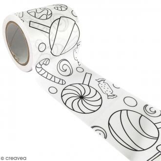 Masking Tape à colorier XL - Sucreries - 4,6 cm x 5 mètres