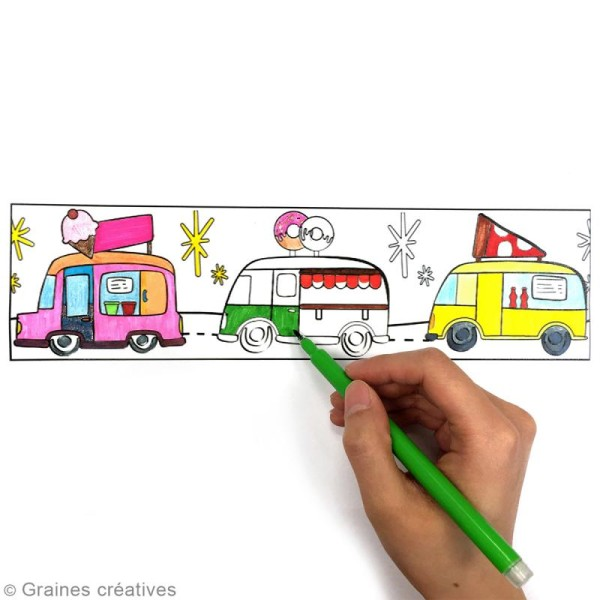 Masking Tape à colorier XL - Camions gourmands - 4,6 cm x 5 mètres - Photo n°3