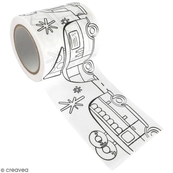 Masking Tape à colorier XL - Camions gourmands - 4,6 cm x 5 mètres - Photo n°1