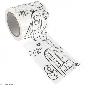 Masking Tape à colorier XL - Camions gourmands - 4,6 cm x 5 mètres